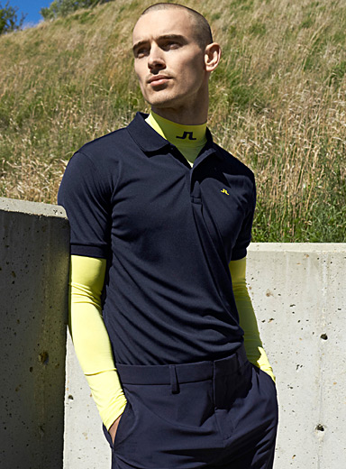 J. Lindeberg Bright Yellow Signature mock neck for men