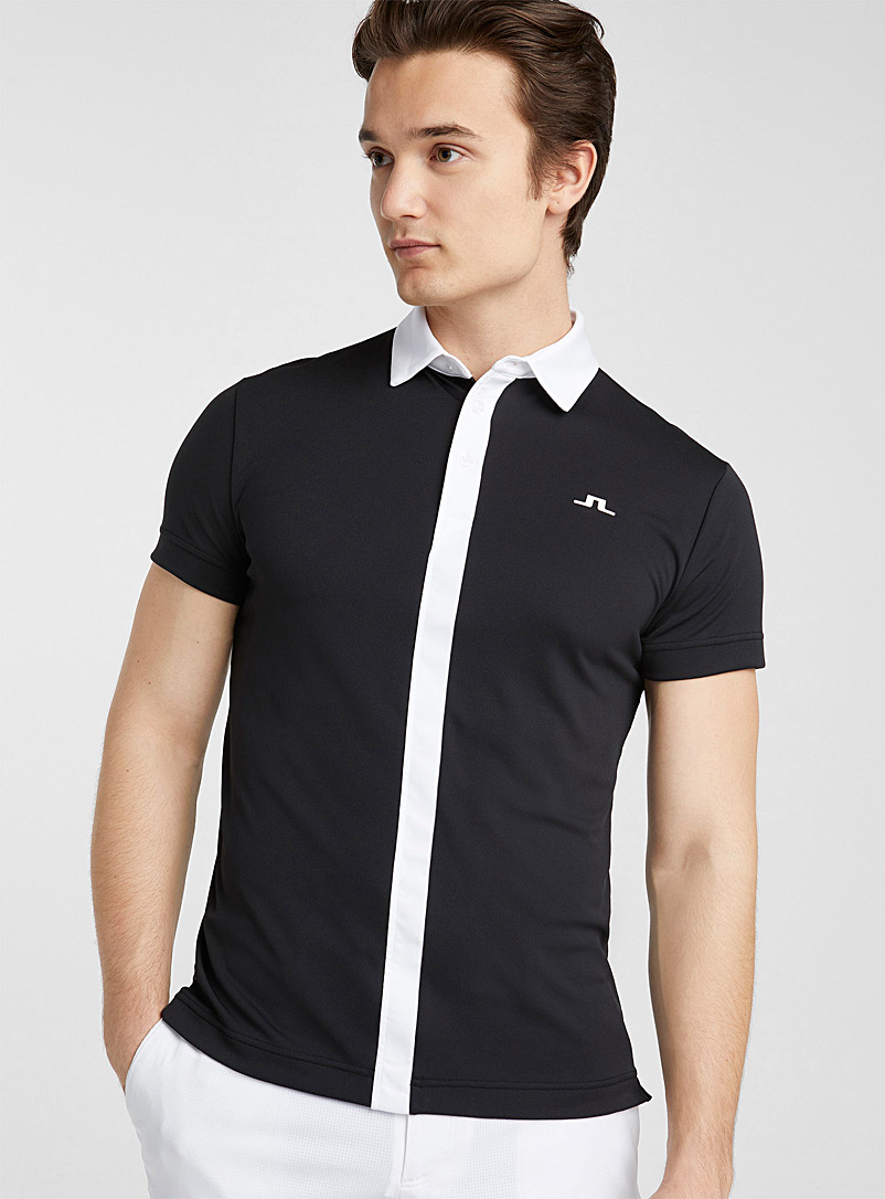 J. Lindeberg Patterned Black Centre band polo for error