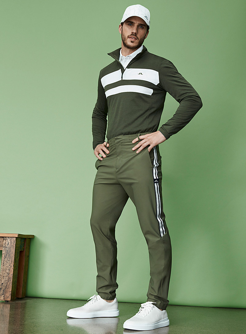 J. Lindeberg Khaki Archer sporty-stripe stretch pant for error