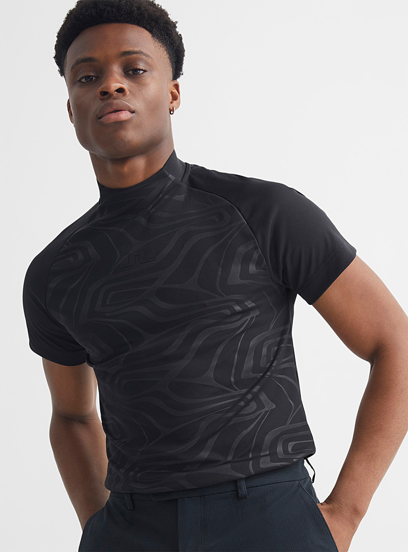 J. Lindeberg Patterned Black Benga mock-neck striated T-shirt for error