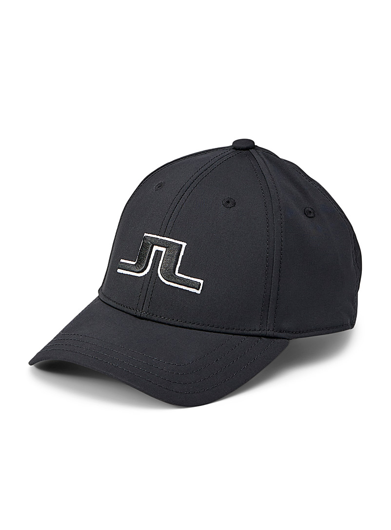 J. Lindeberg Black Angus embroidered monogram cap for error