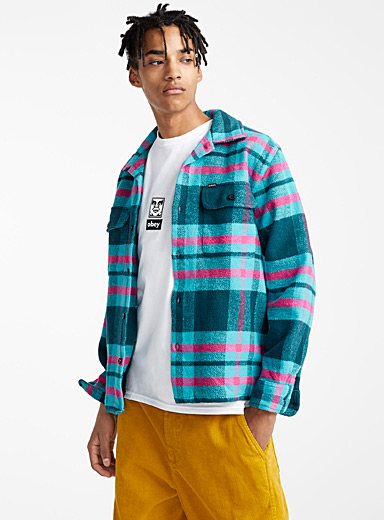 Teal check flannel overshirt