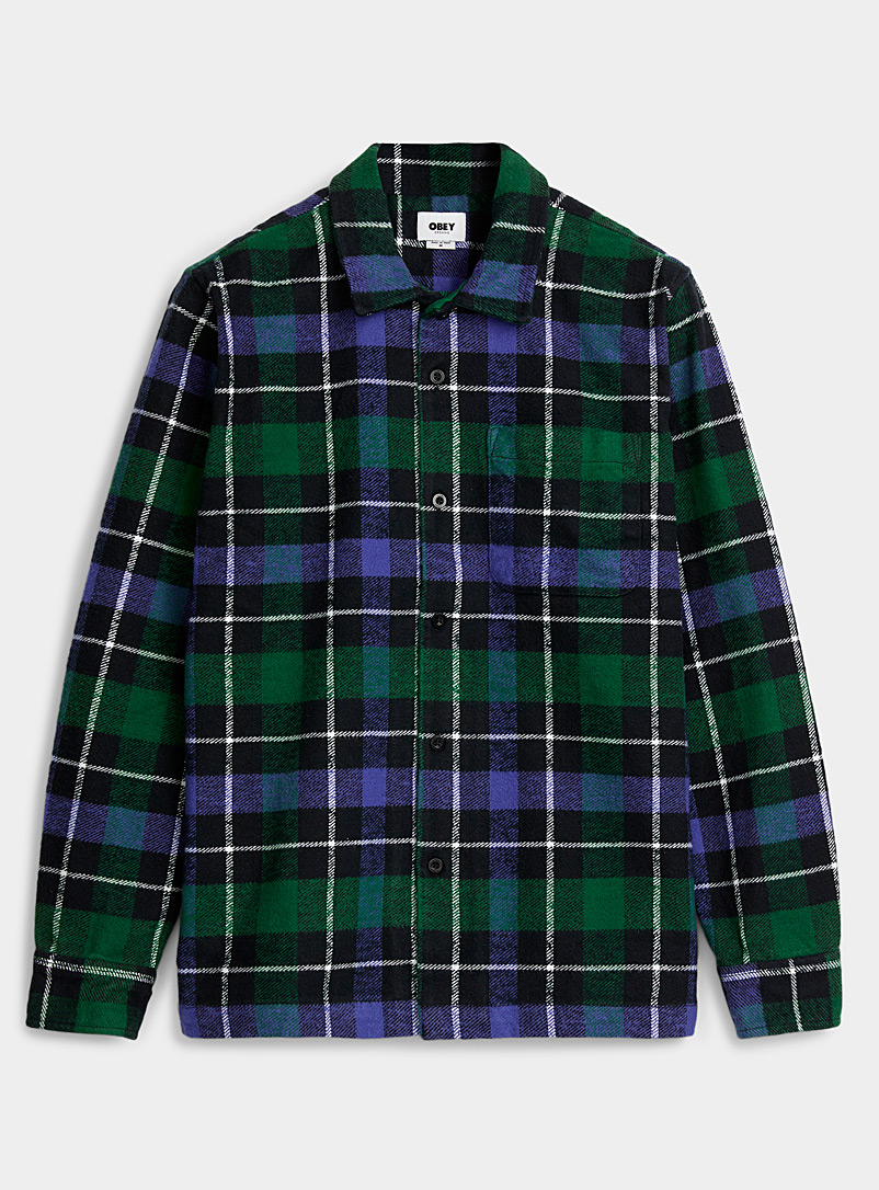 Obey Black Flannel camping overshirt for men