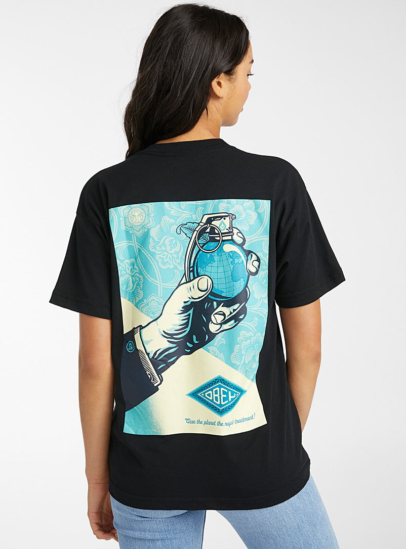 Obey Black Grenade planet tee for women
