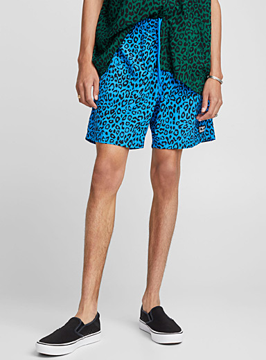 Blue leopard nylon short