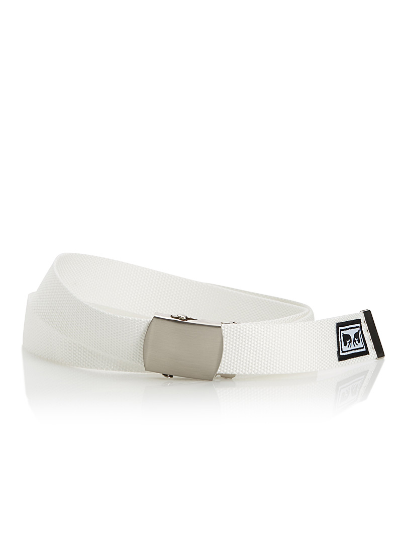 Obey White Big Boy woven belt for men