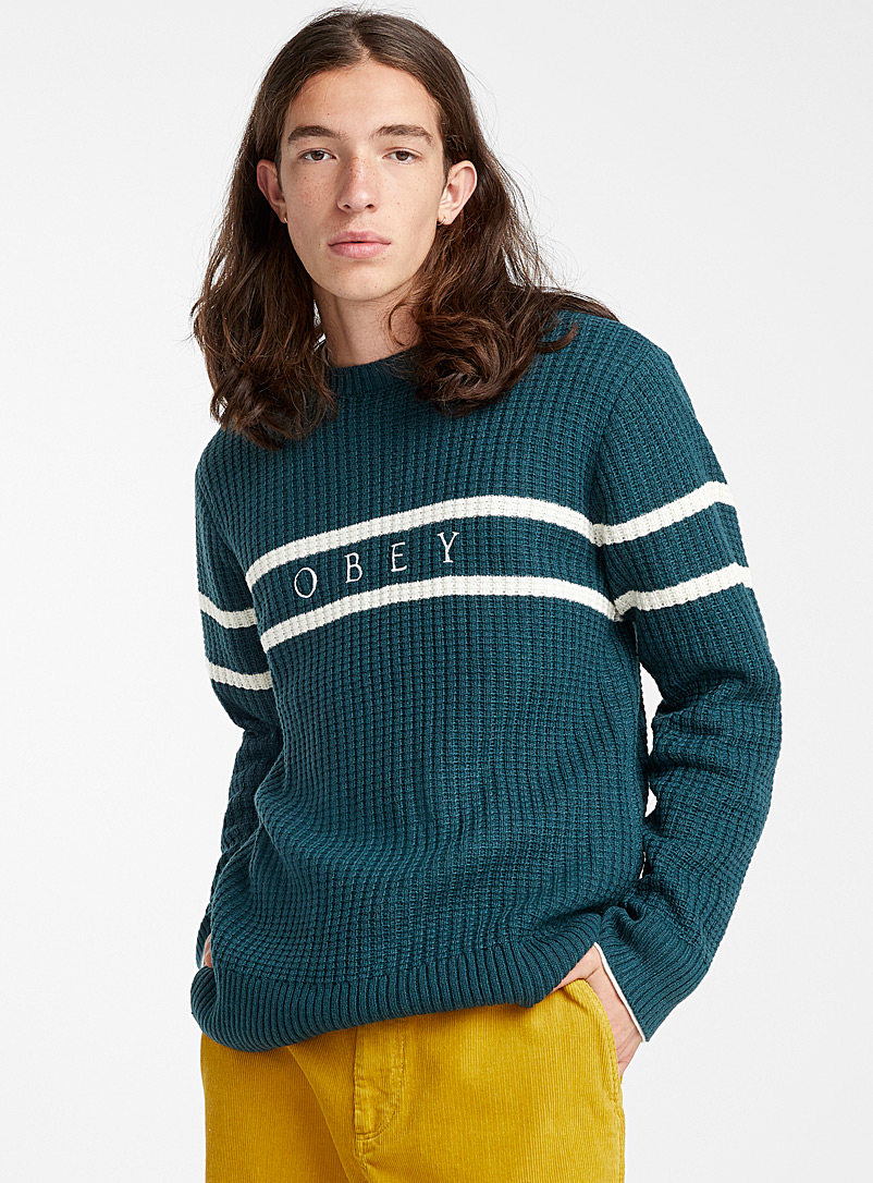 Interlined logo ribbed sweater - Crew necks - Green