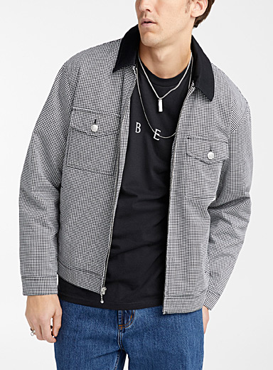 Obey Patterned White Houndstooth trucker jacket for men