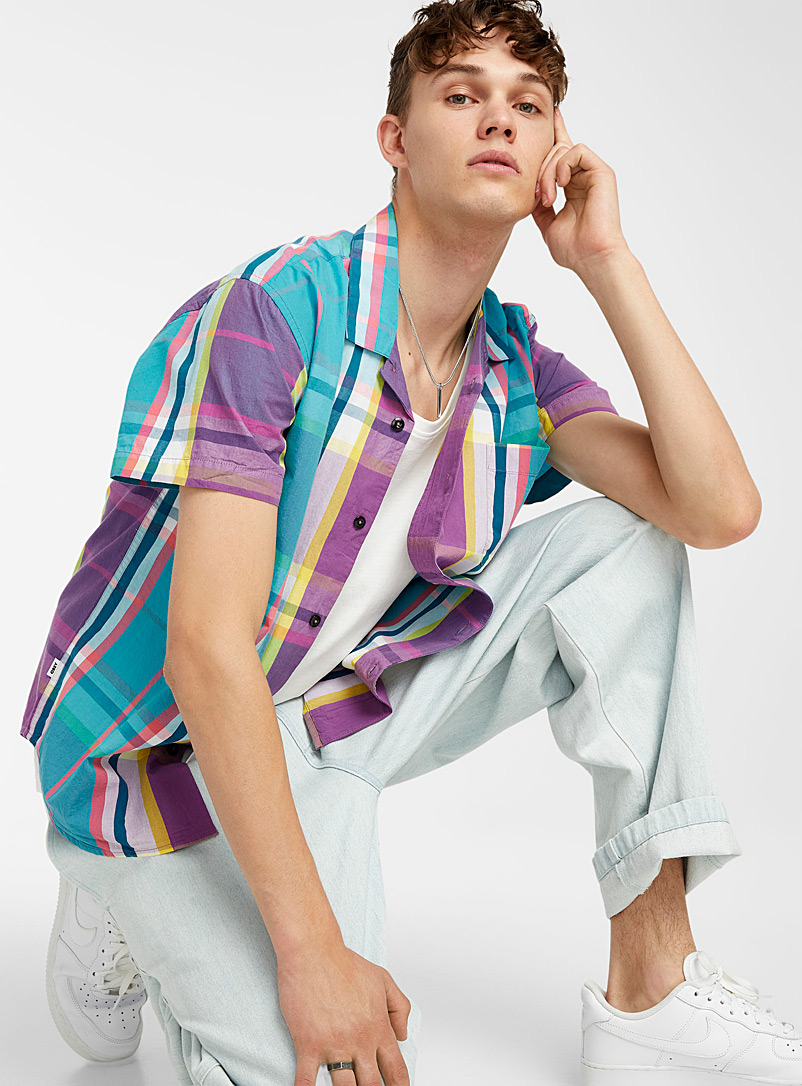 Obey Teal Colourful madras check shirt for men