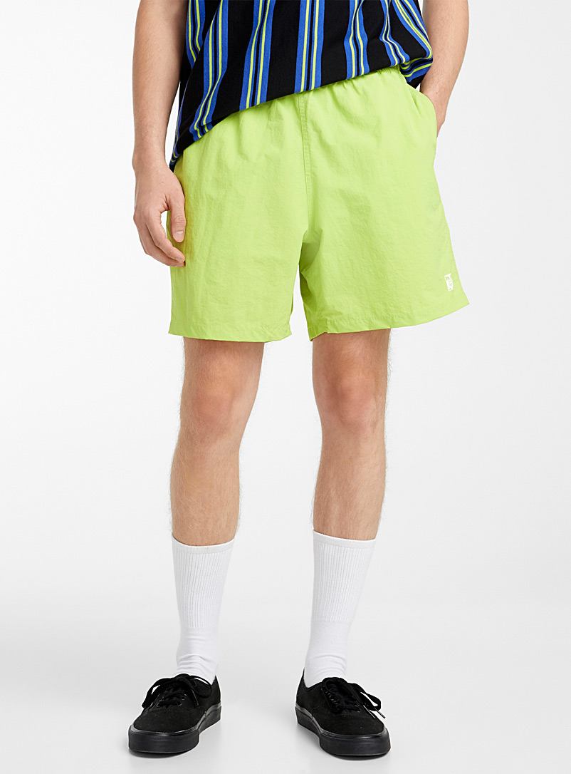 Obey Lime Green Coloured nylon pull-on short for men