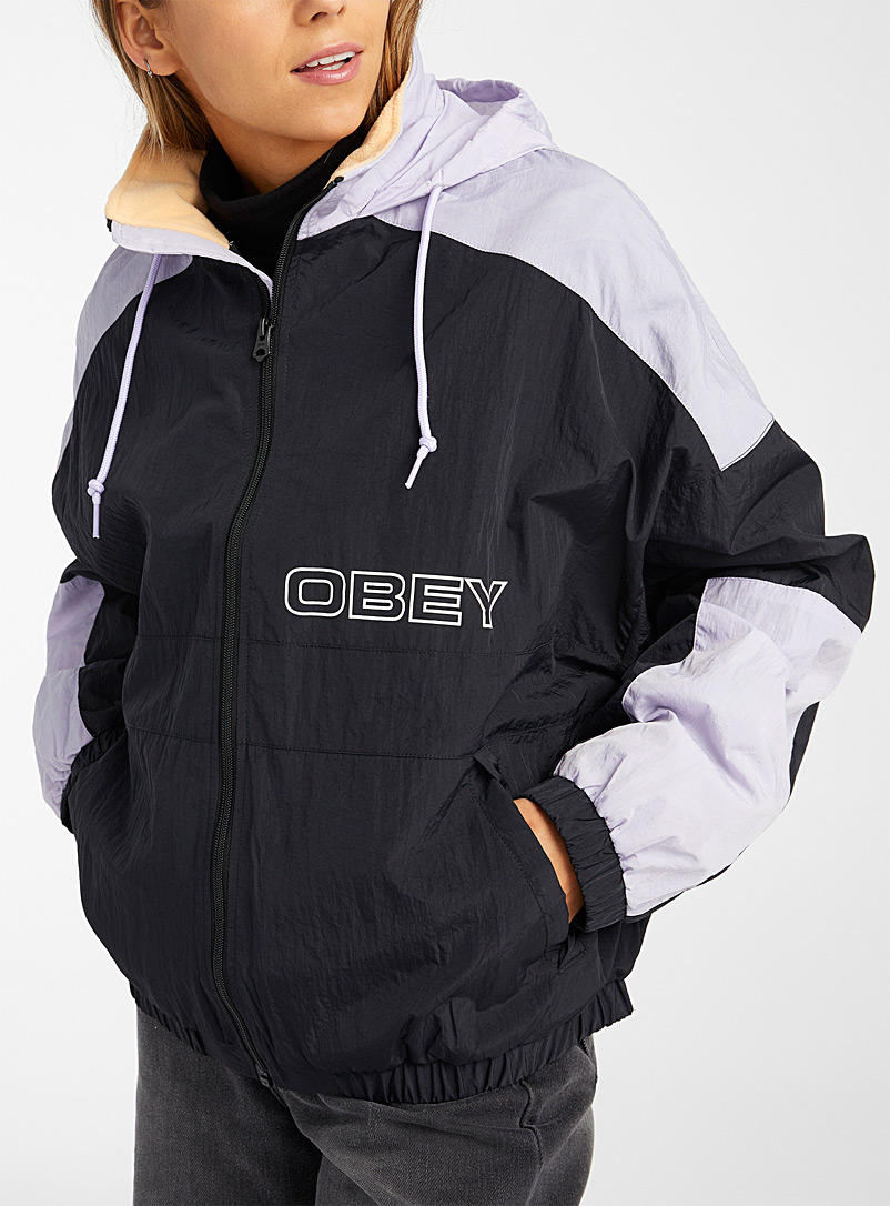 Obey Patterned Black Black and lilac sports jacket for women