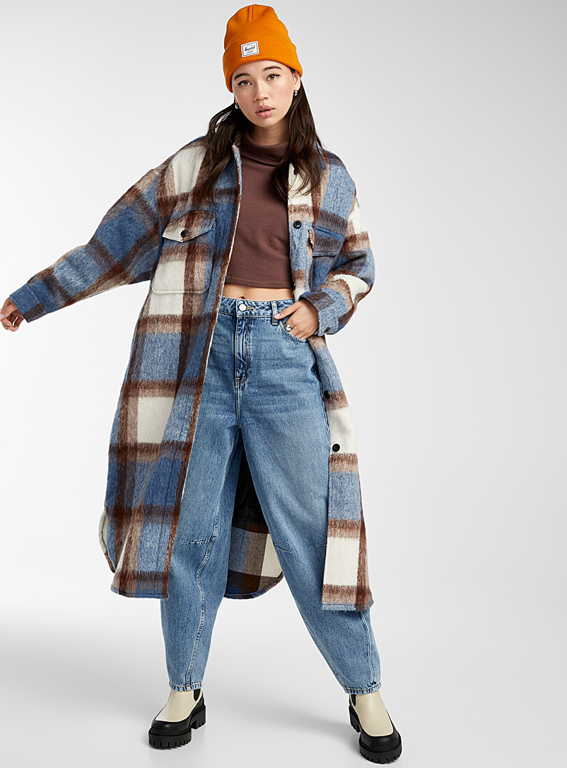 Obey Patterned Blue Cottage check brushed overshirt for women