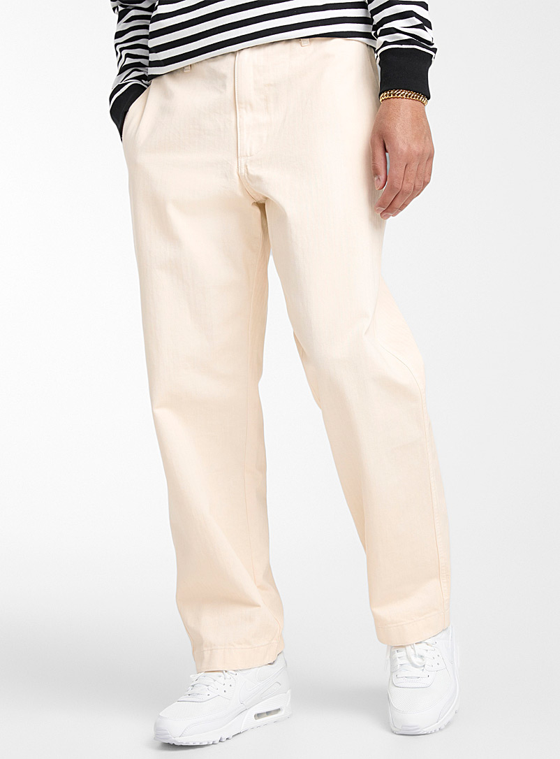 Obey Cream Beige Marshall broken-twill pant Straight fit for men