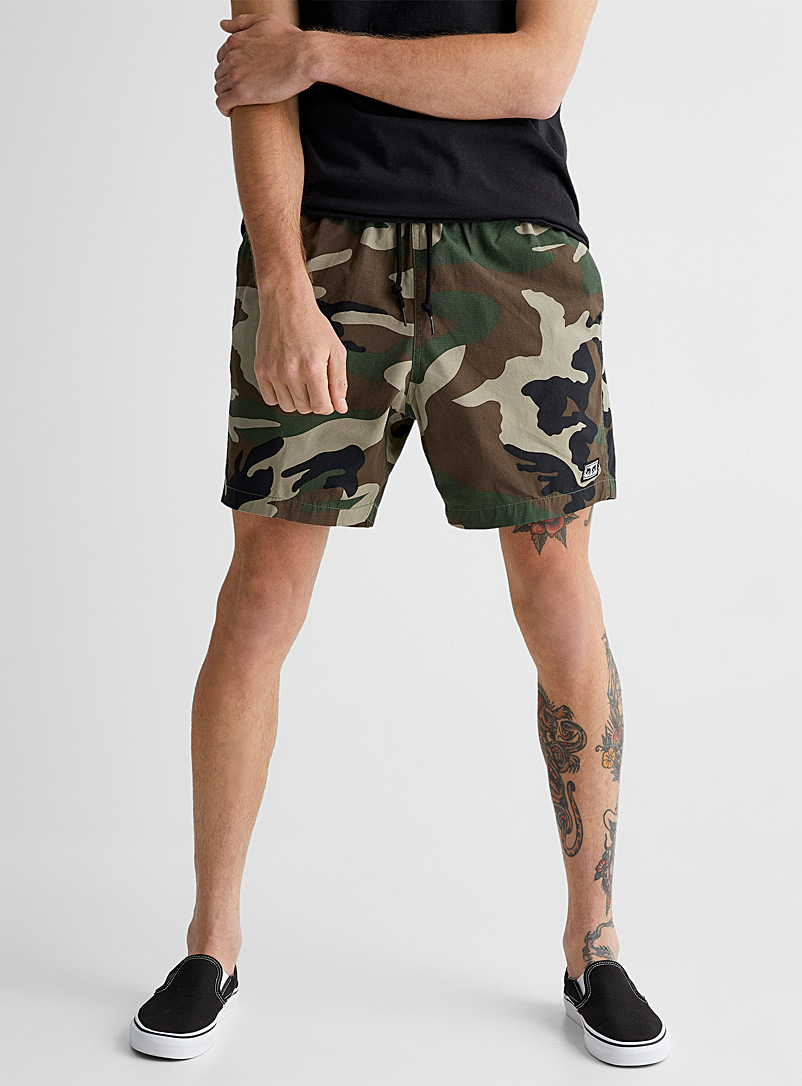 Obey Mossy Green Camo Field ripstop short for men
