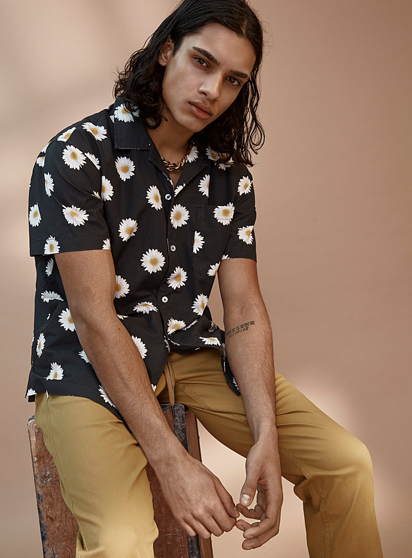 Obey Patterned Black Daisy organic cotton shirt for men