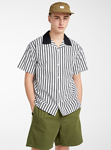 Obey Black Striped organic cotton bowling shirt for men