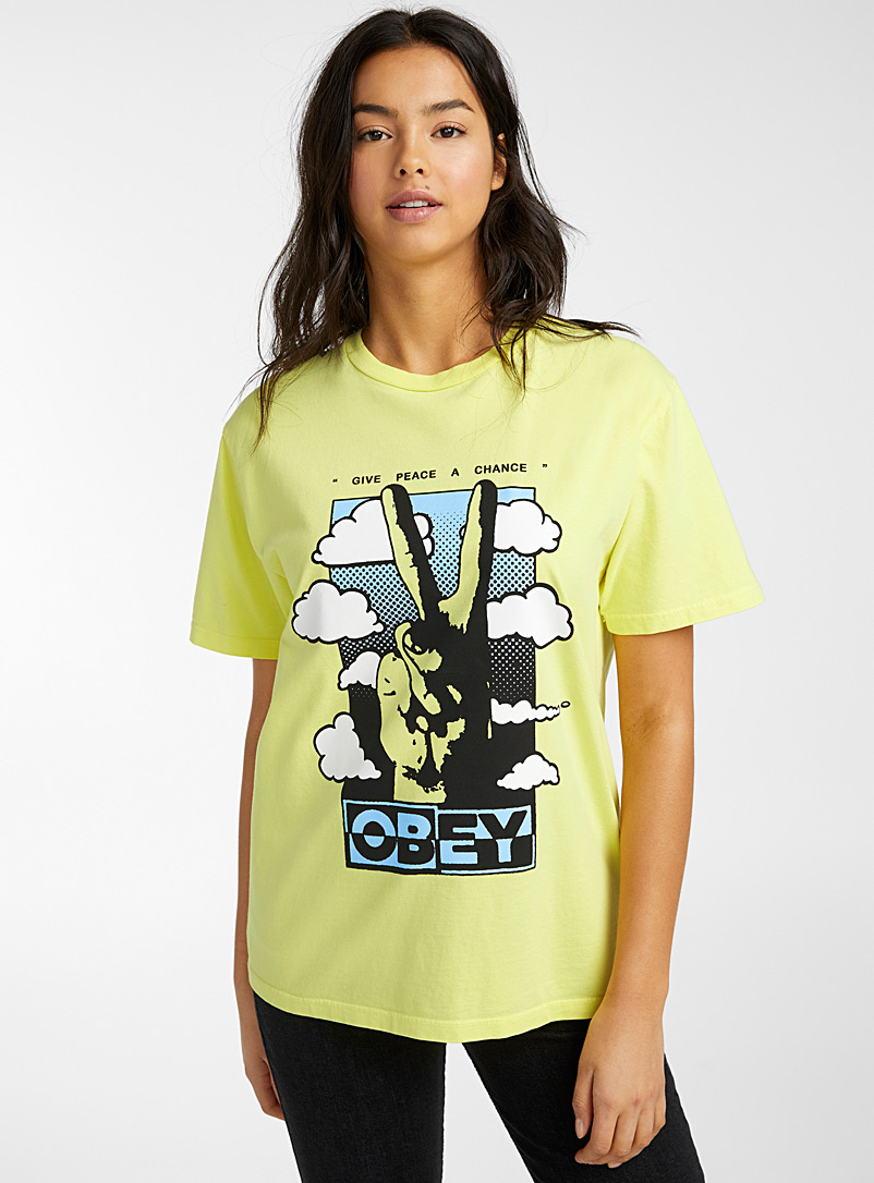 Obey Bright Yellow Give Peace a Chance tee for women