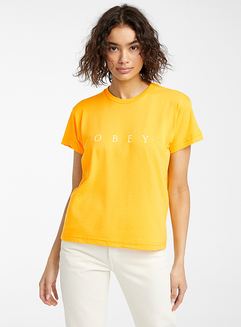 Obey Bright Yellow White logo T-shirt for women