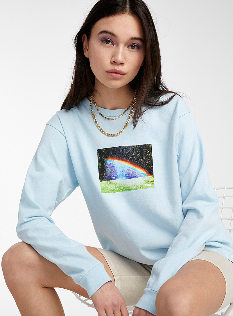Obey Baby Blue Rainbow box tee for women