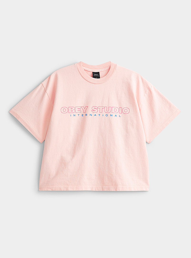Obey Dusky Pink Lilac logo tee for women