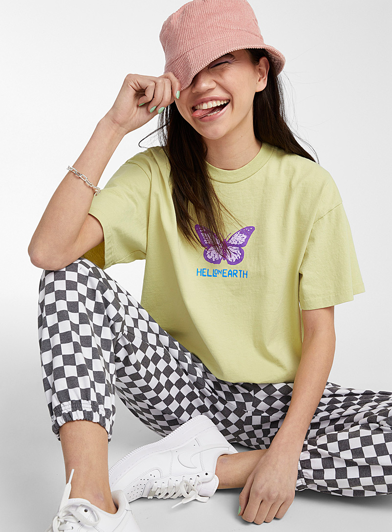 Obey Lime Green Mauve butterfly tee for women