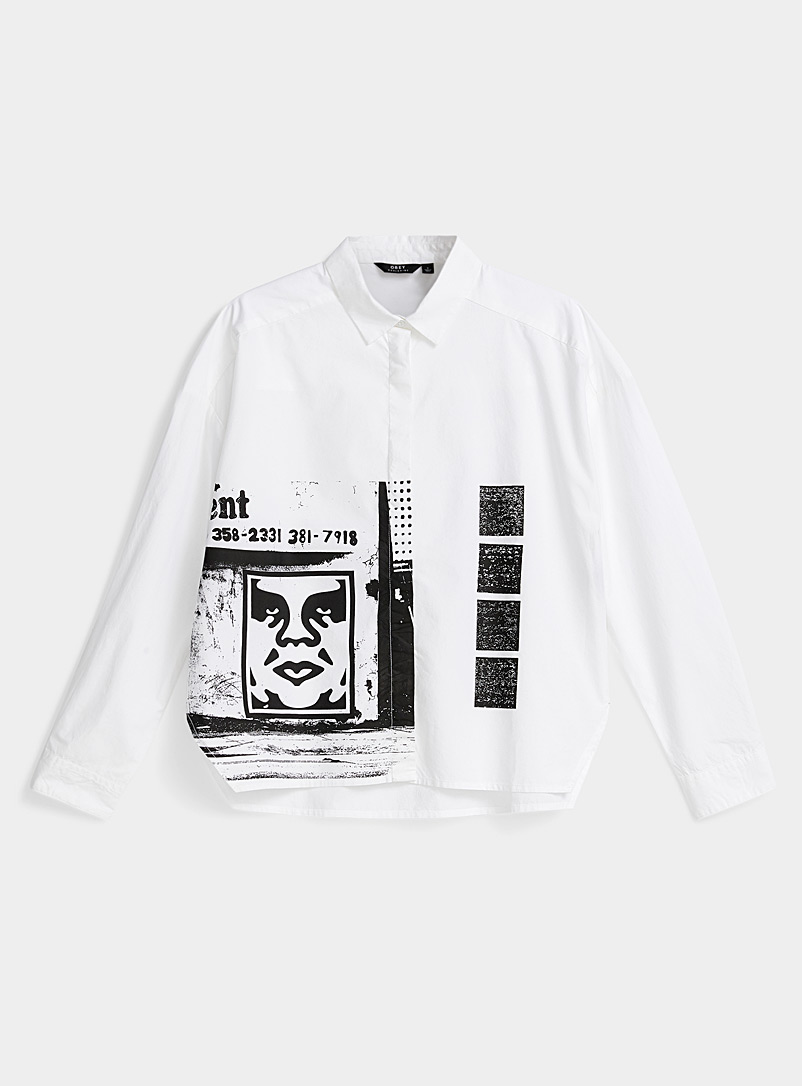 Obey White Portrait print loose shirt for women