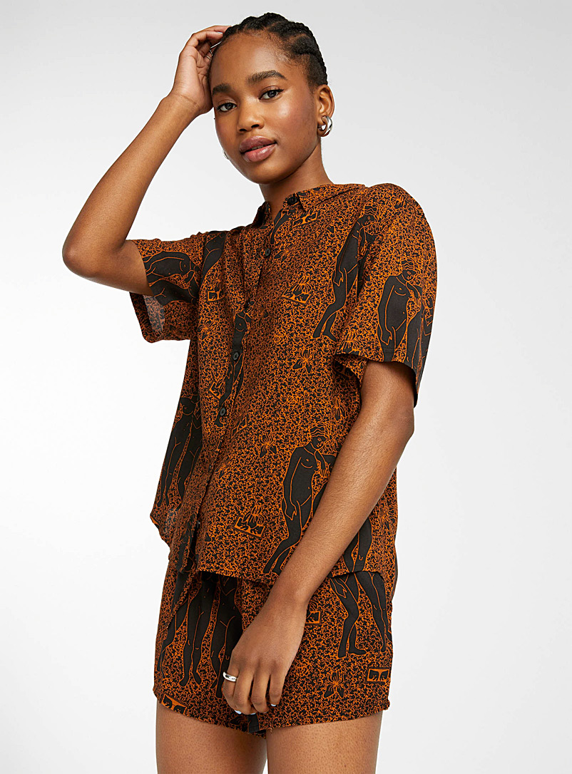 Obey Black and White Free Birds fluid shirt for women