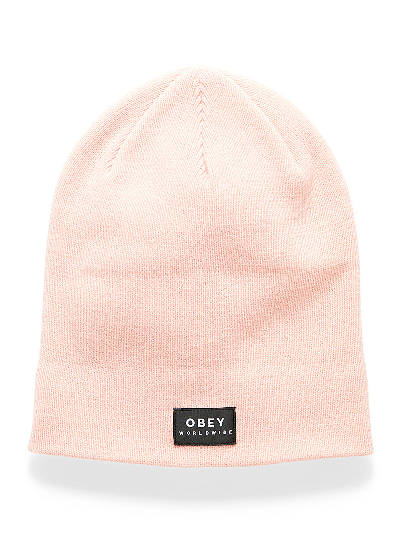 Obey Medium Pink Monochrome patch tuque for women