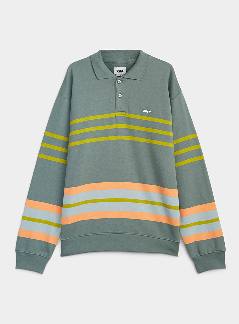 Obey Patterned Grey Block-stripe rugby polo for men