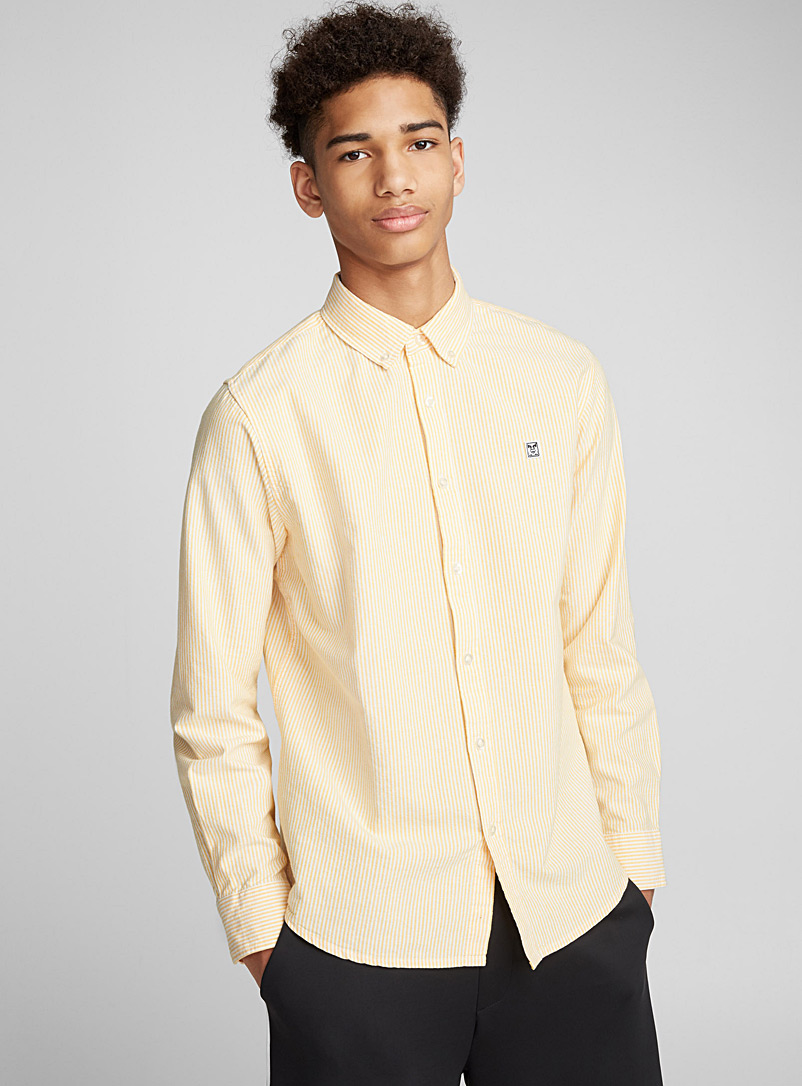 Striped oxford shirt - Long sleeves - Golden Yellow