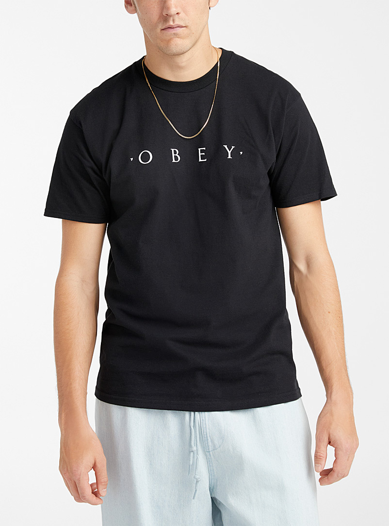 Obey Black Typist logo T-shirt for men