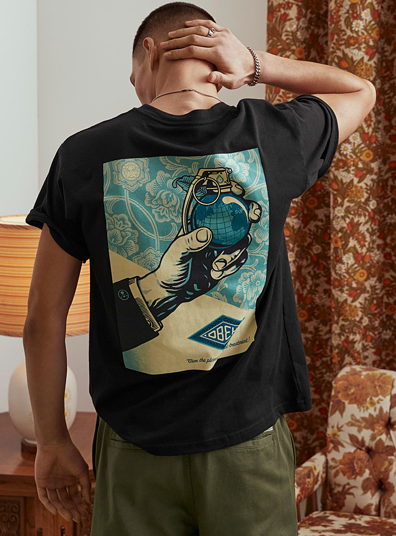 Obey Black Royal Treatment recycled fibres T-shirt for men