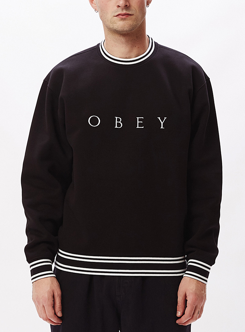 Obey Black Contrast-trim sweatshirt for men