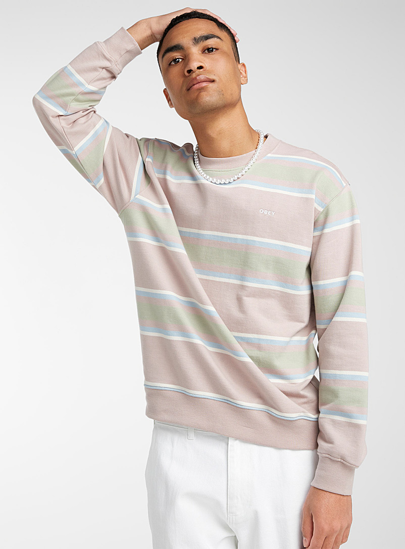 Obey Sand Powder-stripe Jones sweatshirt for men