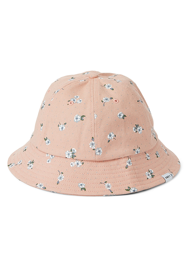Obey Patterned Red Small flower and dotwork bucket hat for women