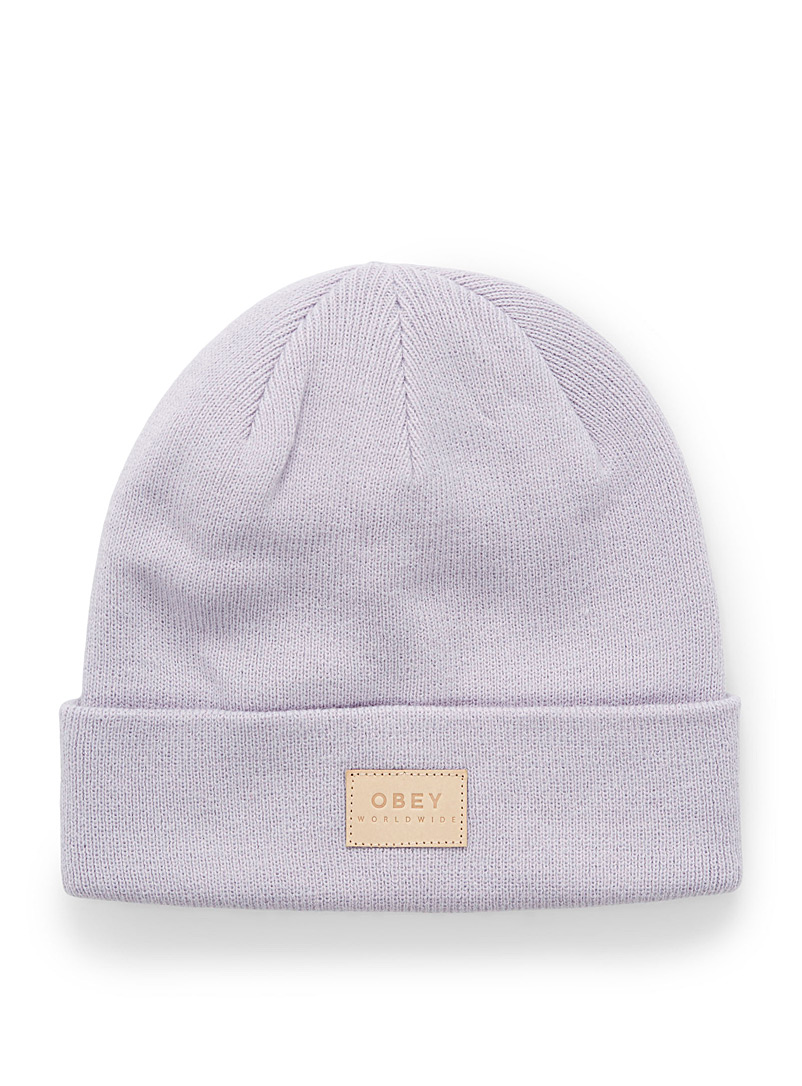 Obey Purple Emblem cuffed tuque for women