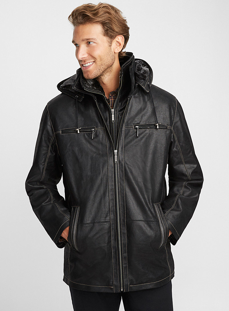 Sly & Co Black Vitali leather coat for men