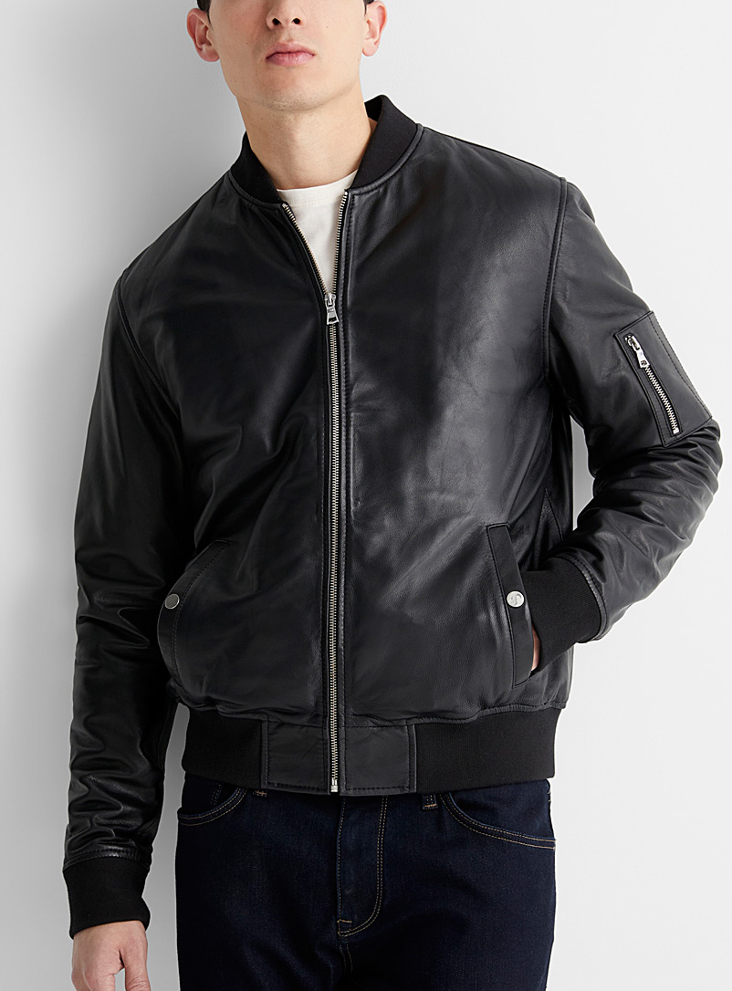Urban leather bomber jacket