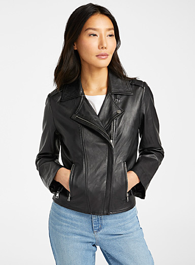 Off-centre zip leather biker jacket