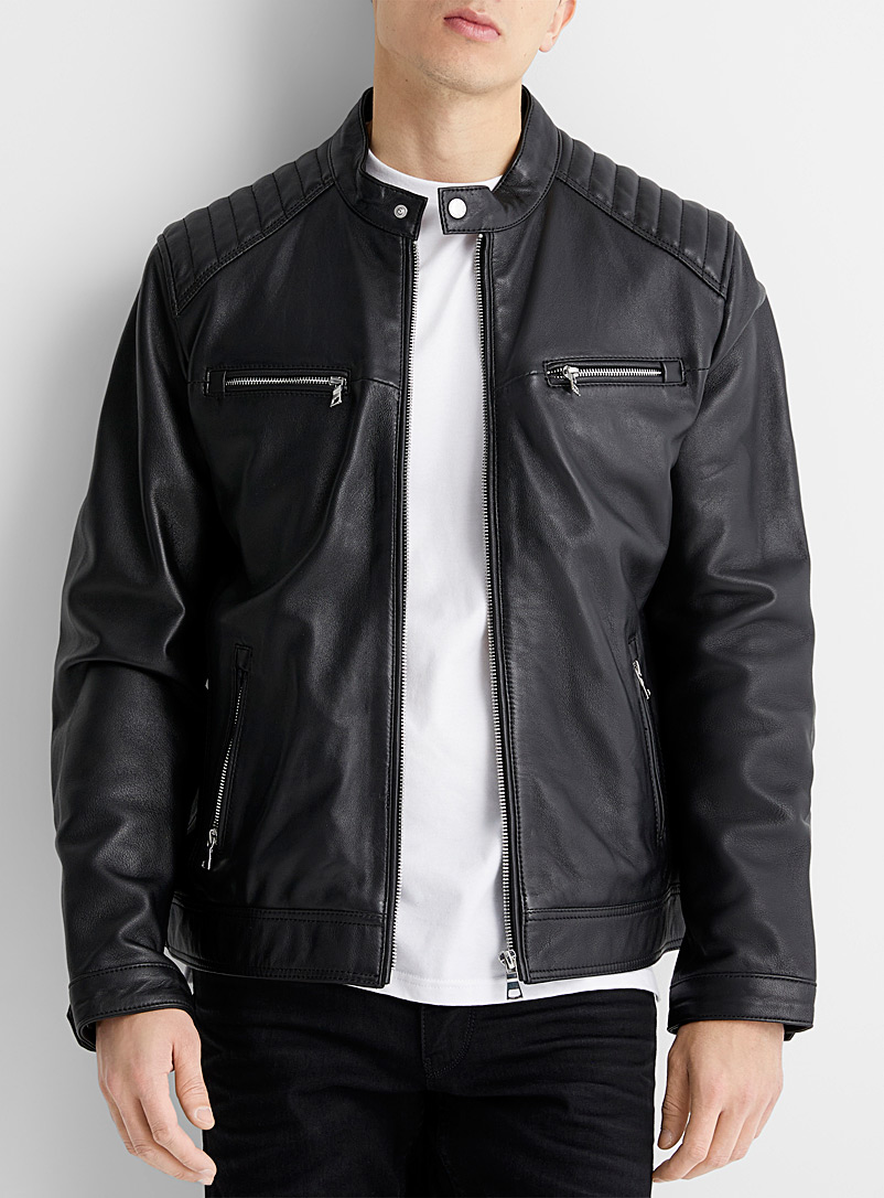 Le 31 Black Leather biker jacket for men