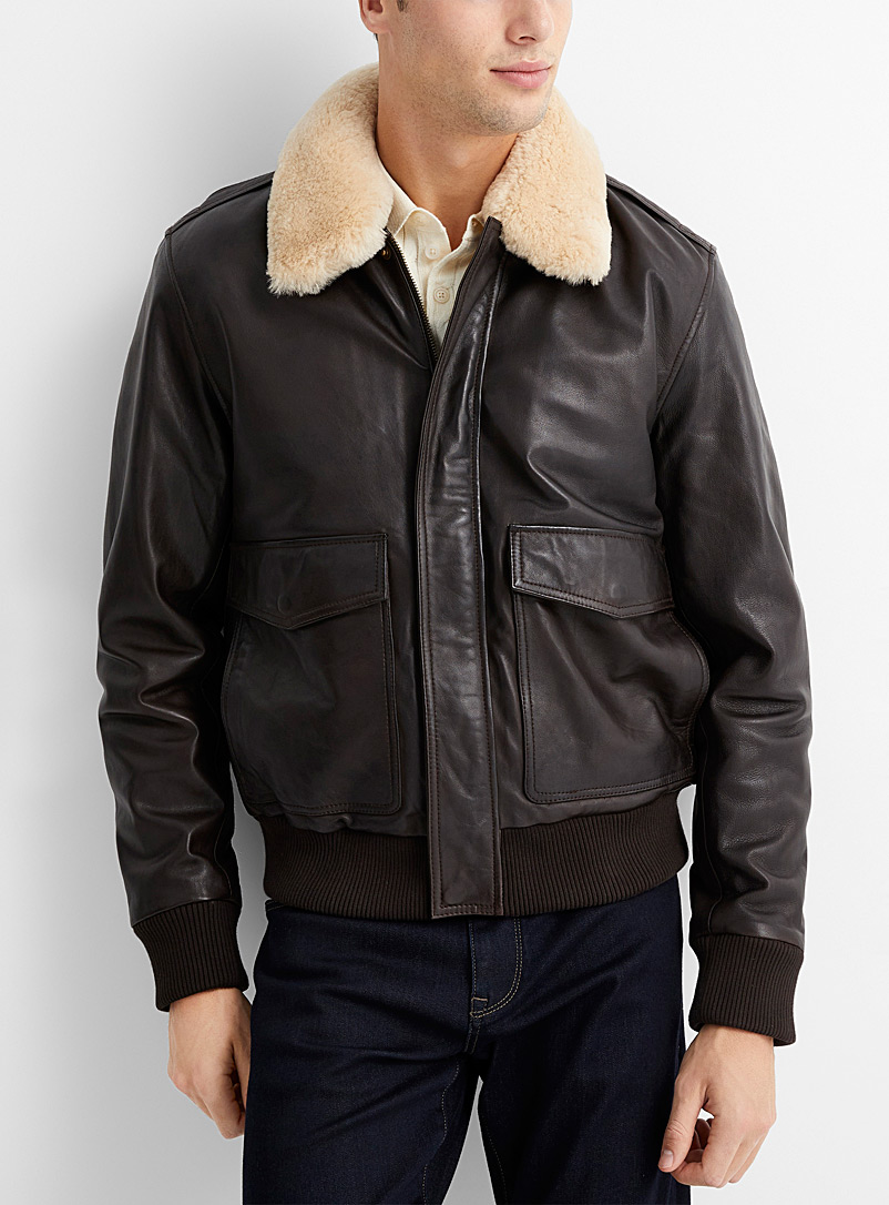 Sly & Co Dark Brown Sherpa-collar bomber jacket for men