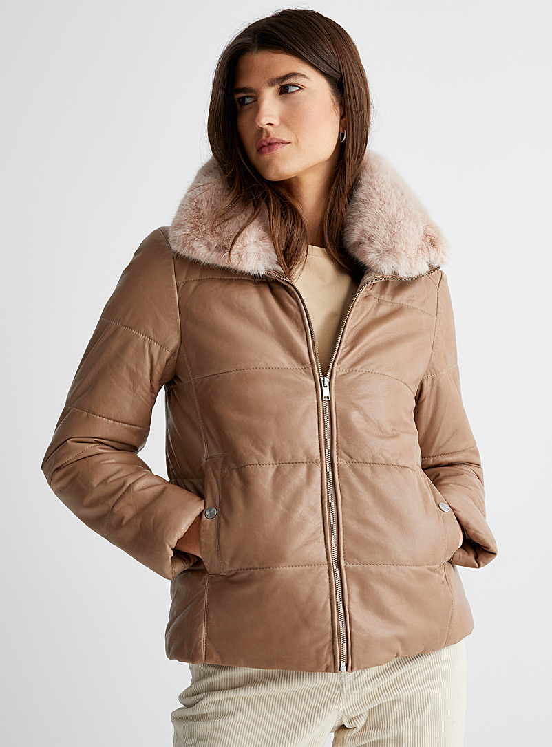 Contemporaine Honey Quilted leather aviator jacket for women