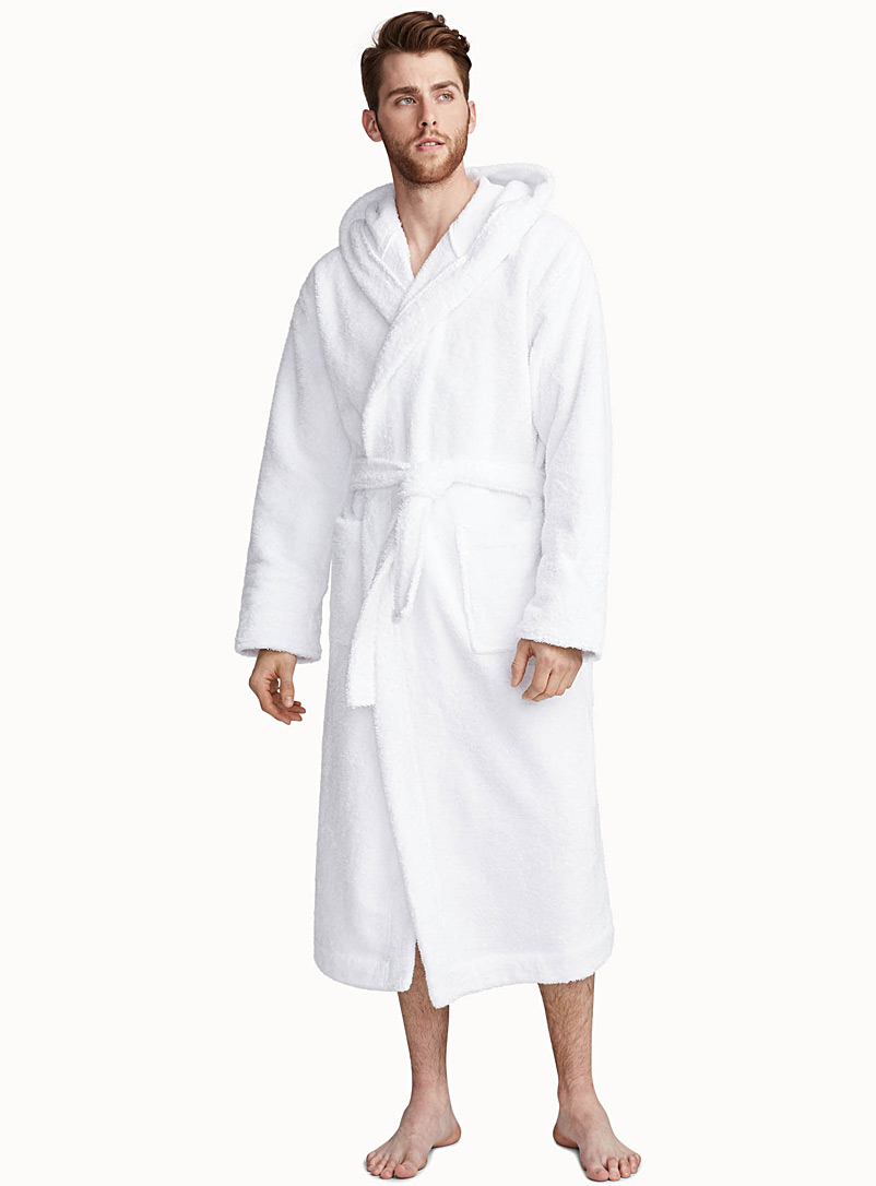 Le 31 White Wide-cuff terry robe for men