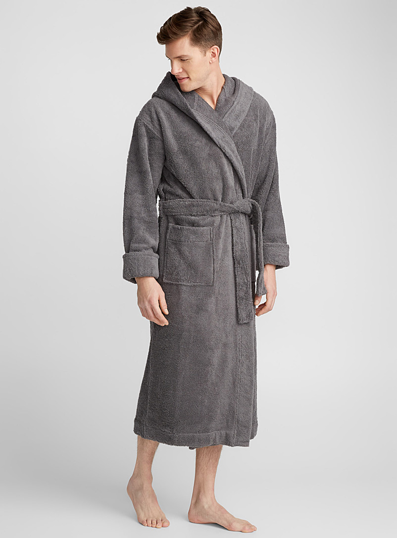 Le 31 Charcoal Wide-cuff terry robe for men