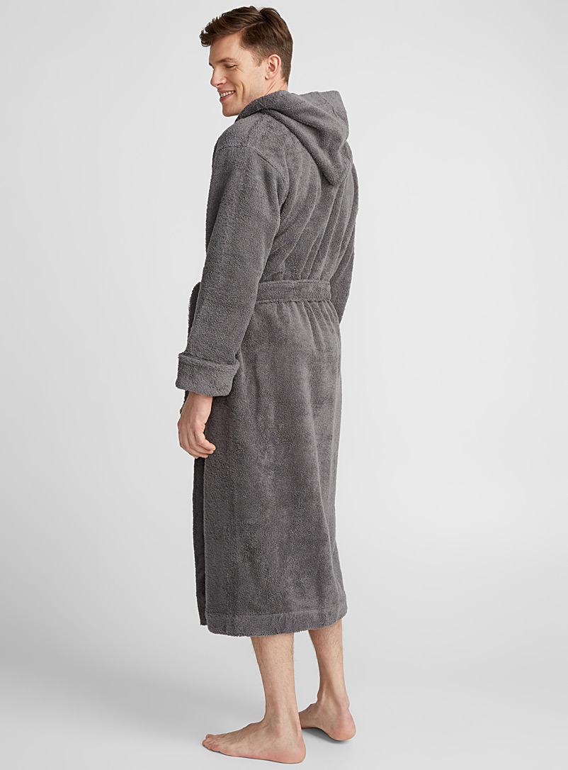 Wide-cuff terry robe - Bathrobes - Charcoal