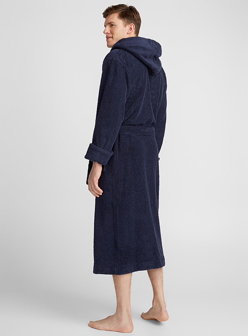 Le 31 Marine Blue Hooded terry robe for men