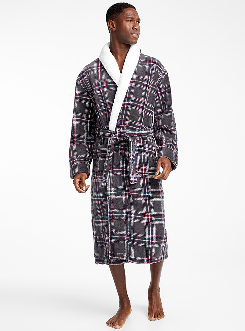 Sherpa tartan fleece robe - Bathrobes - Marine Blue