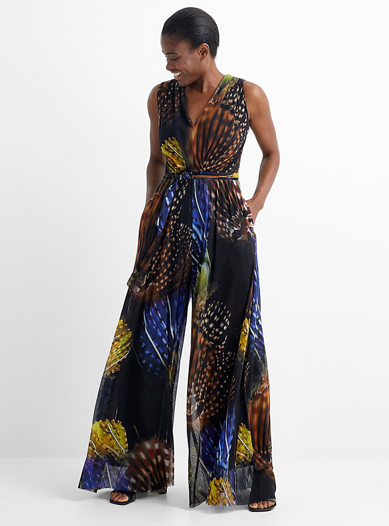 FUZZI Patterned Black Deep sea tulle jumpsuit for women