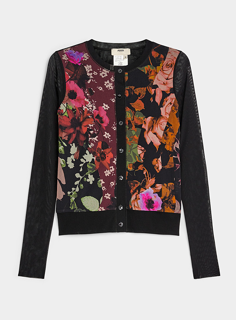 FUZZI Assorted Fall flower tulle cardigan for women