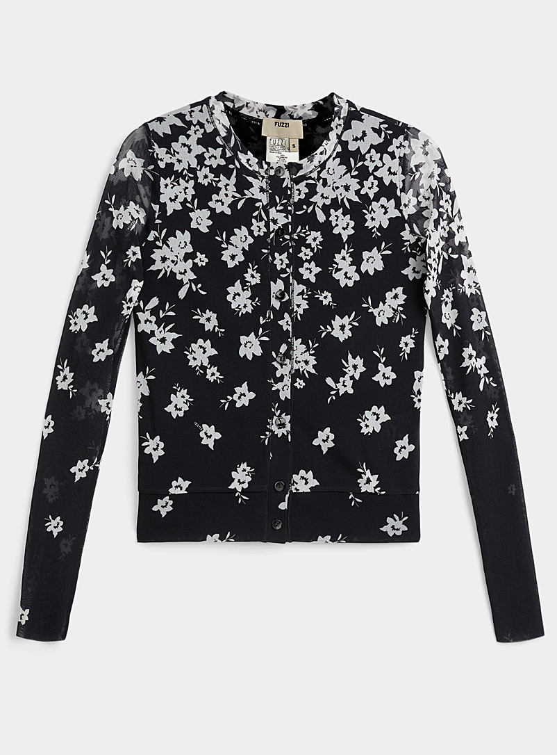 FUZZI Black Floral micro-tulle cardigan for women